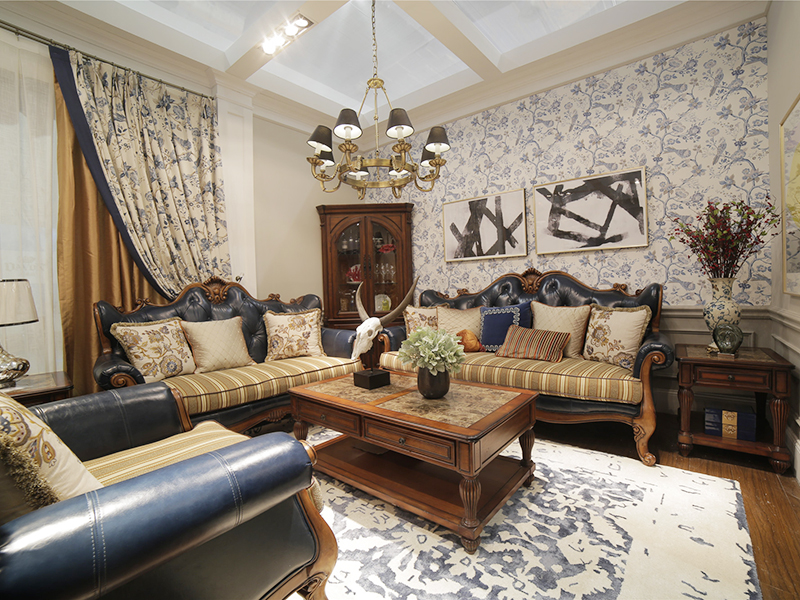 亚兰帝斯家具美式古典客厅鹅掌楸全实木水性漆双人位/三人位/单人位K4731皮沙发/酒柜