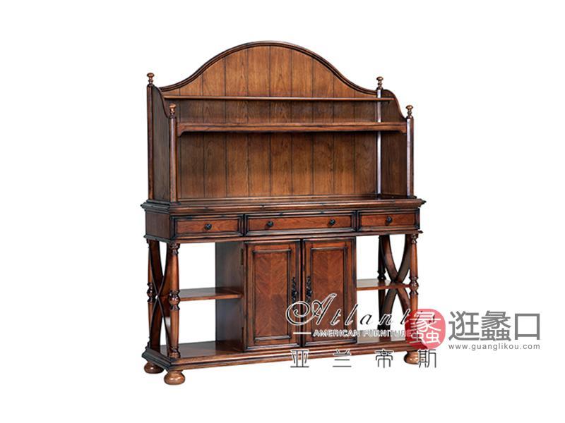 亚兰帝斯家具美式古典客厅鹅掌楸全实木水性漆K5271边架玄关柜