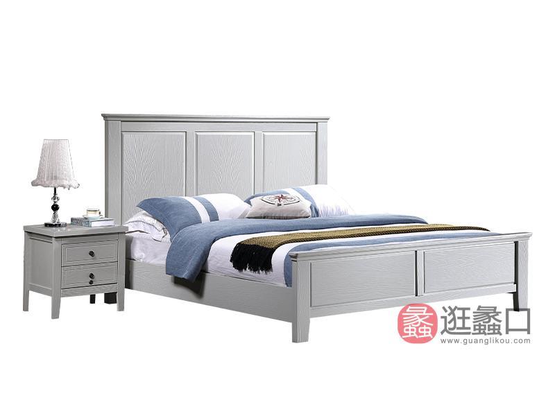兰迪家具美式卧室床1.8米美式时尚双人实木大床8811床