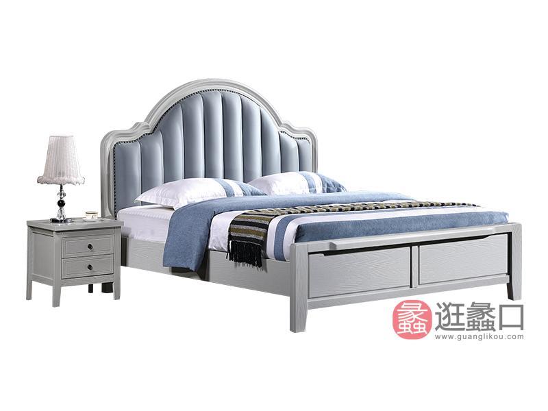 兰迪家具美式卧室床1.8米双人实木大床时尚简约软床8830床