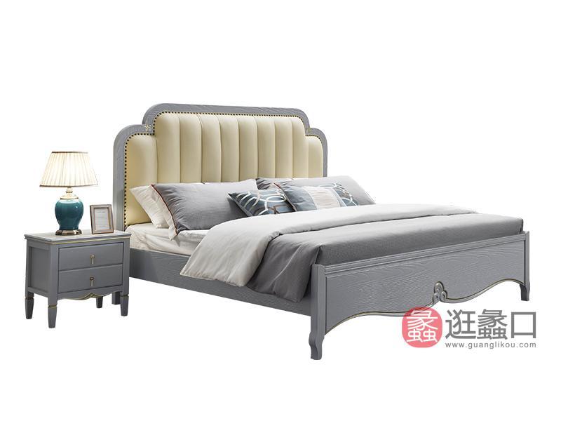 兰迪家具美式卧室床实木双人床时尚简约美式床8862床