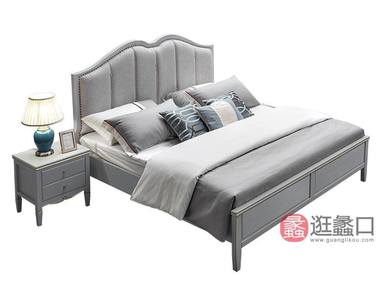 兰迪家具美式卧室床美式实木床双人床舒适软床8867床