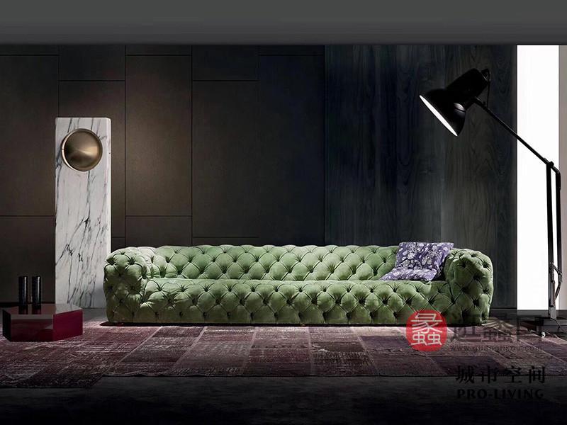 城市空间PRO-LIVING家具意式现代极简轻奢客厅静谧绿色长沙发