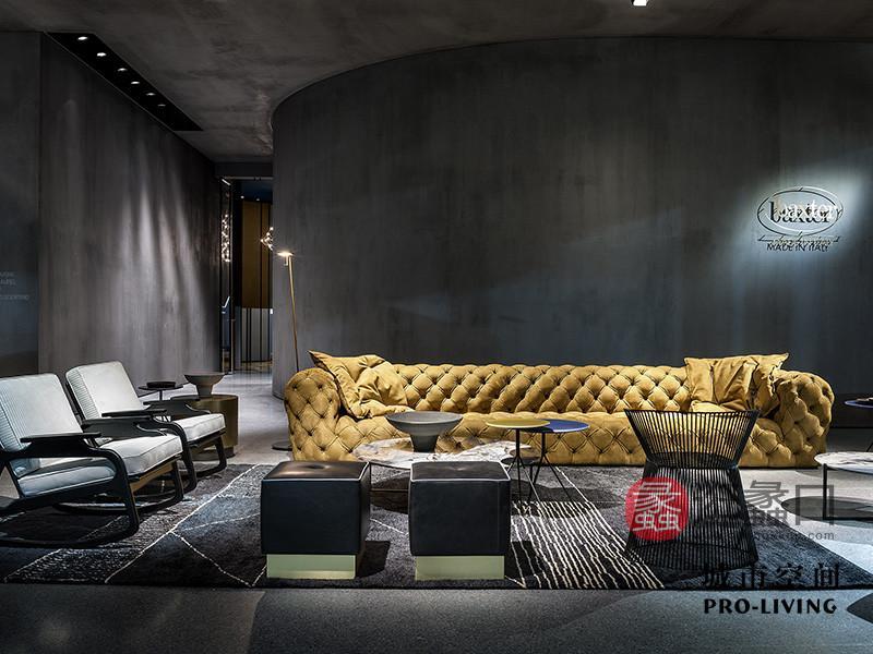 城市空间PRO-LIVING家具意式现代极简轻奢客厅活力黄色长沙发+茶几组合