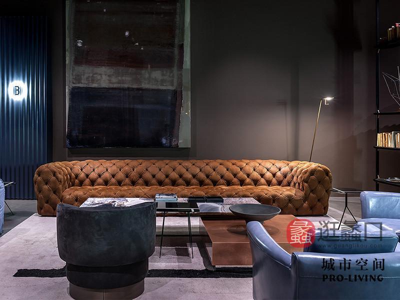 城市空间PRO-LIVING家具意式现代极简轻奢客厅前卫亮色舒适长沙发