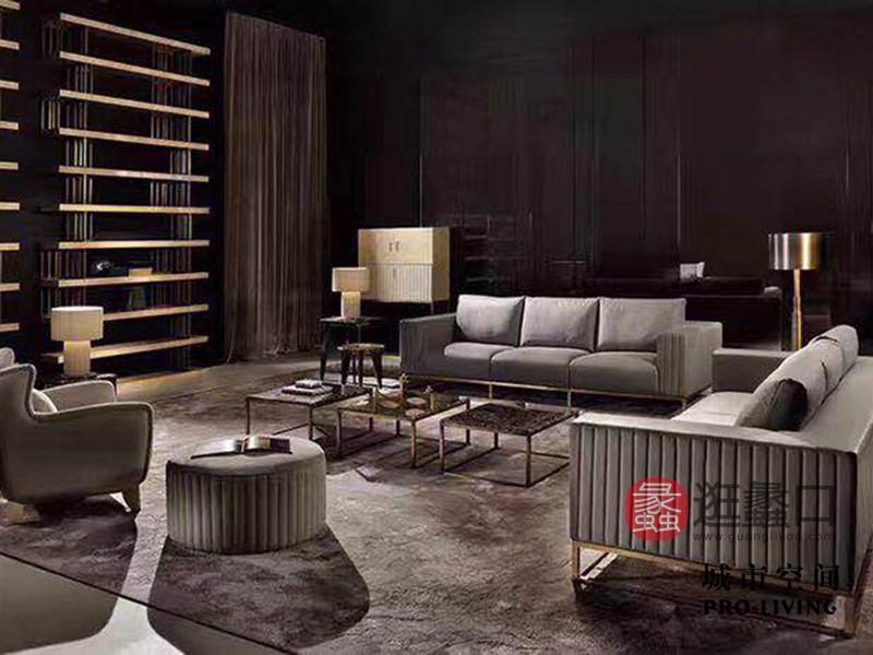 城市空间PRO-LIVING家具意式现代极简轻奢客厅沙发2+3+圆凳