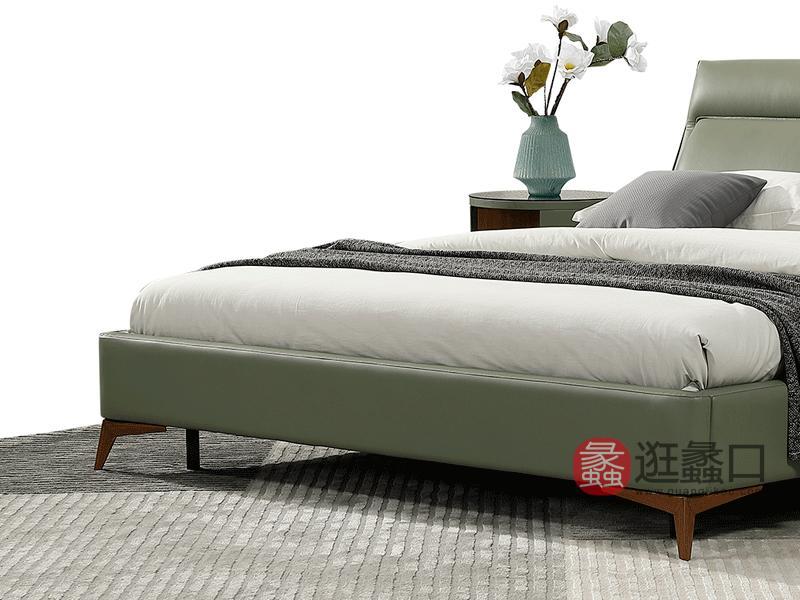 大城小爱家具现代卧室床头层牛皮床C-1919#