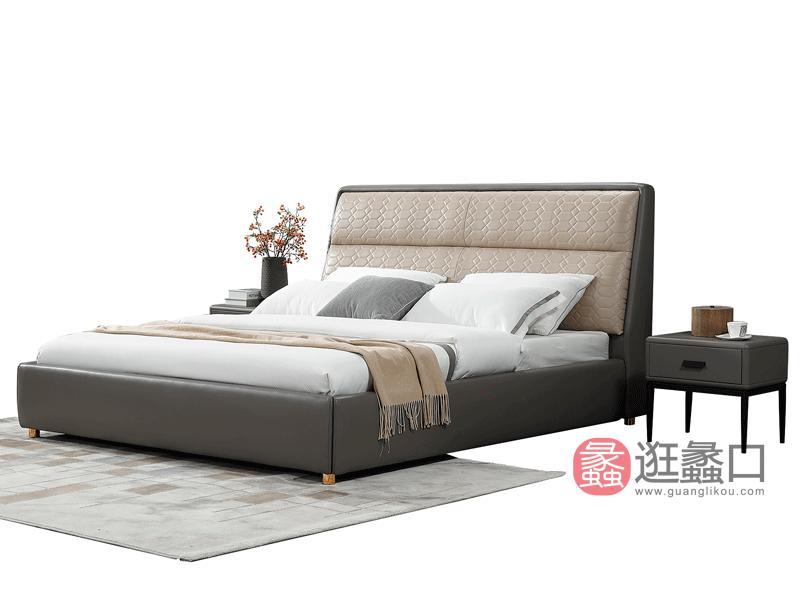 大城小爱家具现代卧室床超纤皮床C-286#