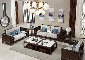 悦木家具新中式客厅沙发新中式实木沙发组合YF67