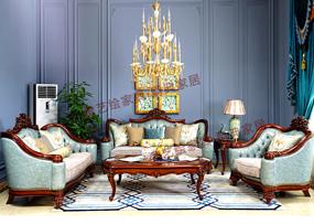 奢艺绘家具·爵典家居欧式客厅实木雕花真皮1+2+3沙发组合SY202