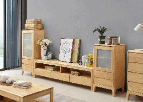 舒舍家具北欧客厅电视柜实木电视柜组合K11三抽电视柜+K12高厅柜+K13低厅柜