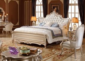 爱丽舍宫家具·爵典 家居欧式卧室雕花实木大床H-831a/床头柜