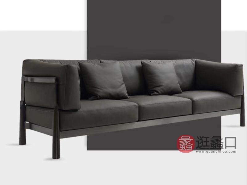 钦驰意式极简客厅沙发时尚简约沙发钢架结构皮沙发K928