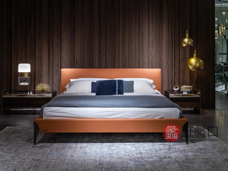 环宸意式极简卧室床舒适软体床皮质大床双人床1997