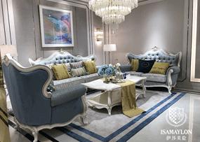 健辉家居·伊莎美伦家具欧式新古典家具欧式蓝色客厅榉木布艺(实木) 单人位+双人位+三人位沙发组合