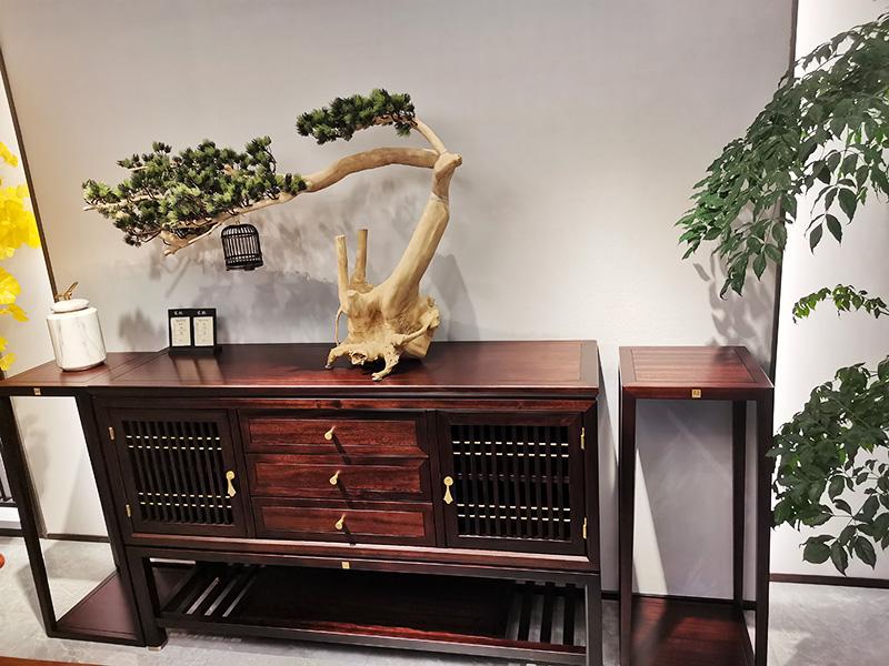 熙叶家具新中式实木双边门两层镂空使用餐厅餐边柜-301