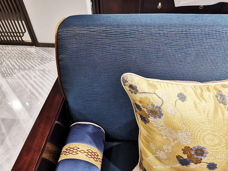澜起家具新中式实木侧面雕刻布艺软包客厅沙发三人位SF-05-3