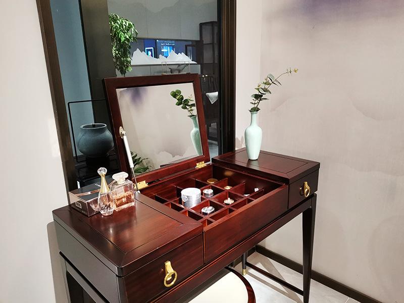 澜起家具新中式实木收纳储物多功能带镜子卧室梳妆台ZT-02