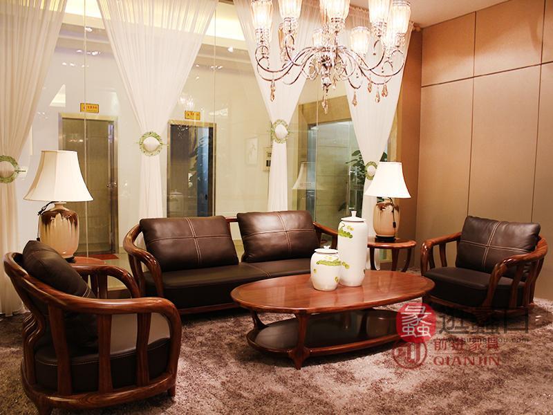 君诺家居·前进家具 现代中式客厅乌金木实木皮艺双人位/三人位/单人位沙发组合215沙发/茶几/角几