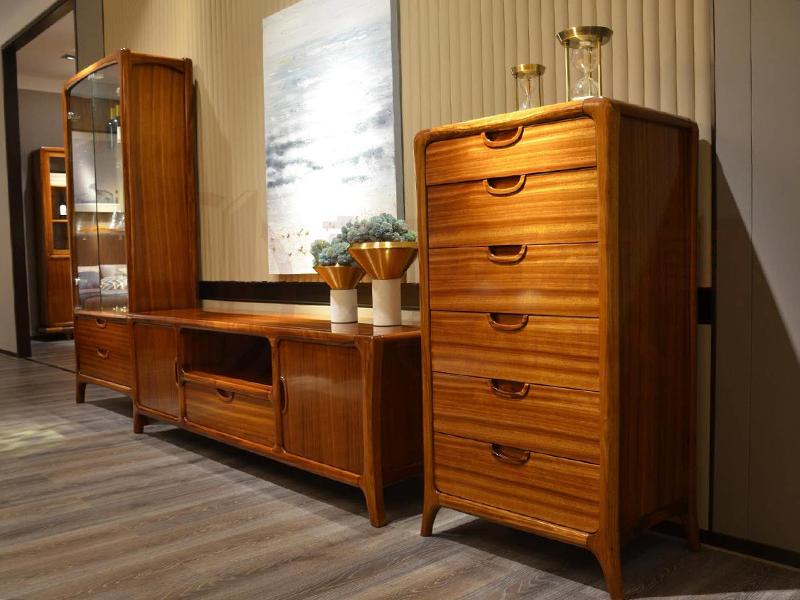 君诺家居·前进家具现代中式客厅乌金木实木电视柜/厅柜201六斗柜