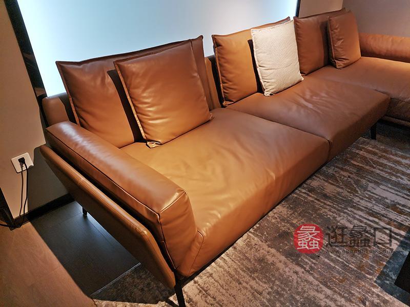 伊薇特家具意式现代极简皮质软垫高弹性客厅沙发YS-803