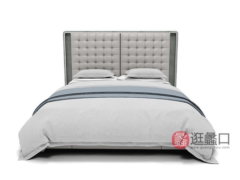 AM简奢家具轻奢卧室床极简轻奢真皮床时尚软床D801床