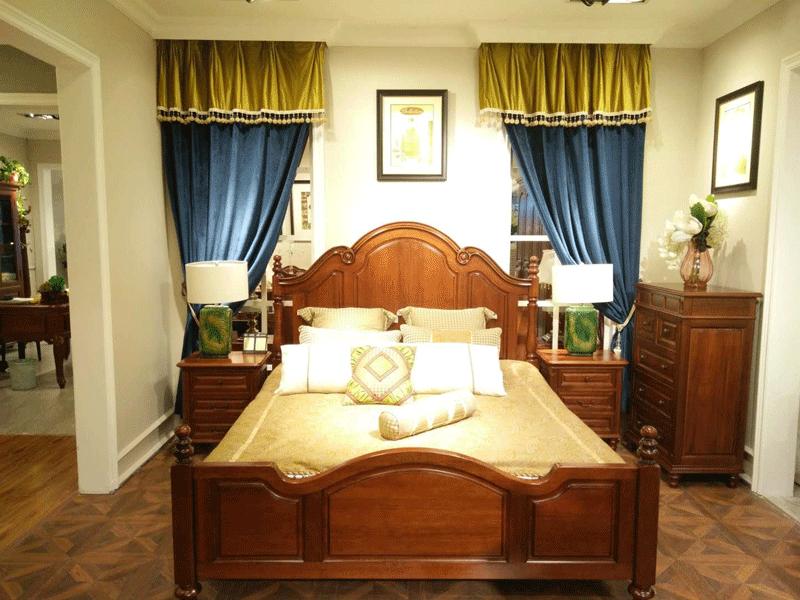 奥斯汀美式胡桃木实木床1.8米大床8605床特价