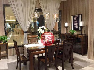 君诺家居·一品海棠家具 简约现代 餐厅餐桌椅海棠木长条餐桌