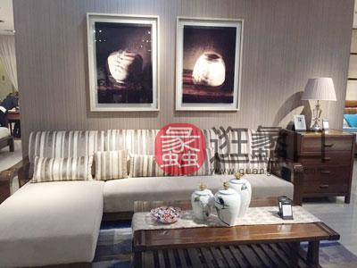 君诺家居·一品海棠家具 简约现代客厅海棠木布艺转角沙发