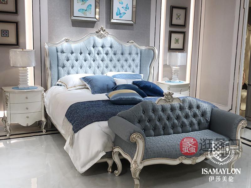 健辉家居·伊莎美伦家具欧式新古典家具欧式白色卧室蓝色榉木大床ML021
