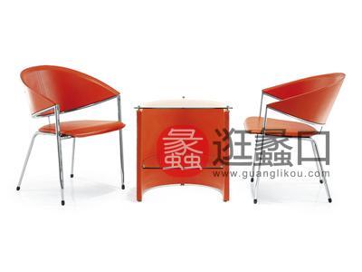 新思维办公家具 虹桥时尚简约玻璃面钢木洽谈者/会客桌椅