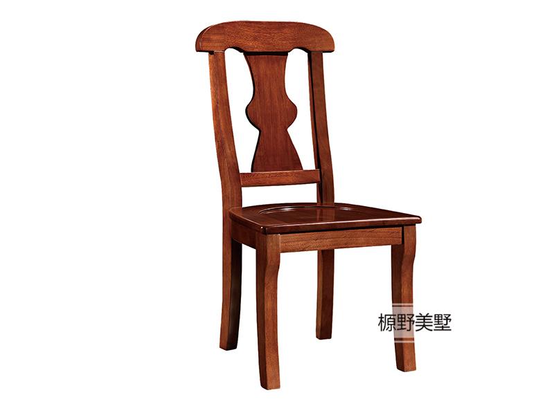 榞野美墅家具 美式实用典范餐厅金丝木实木餐椅801