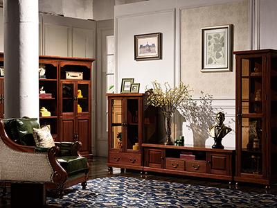 榞野美墅家具 美式客厅金丝木纯实木电视柜/地柜组合801