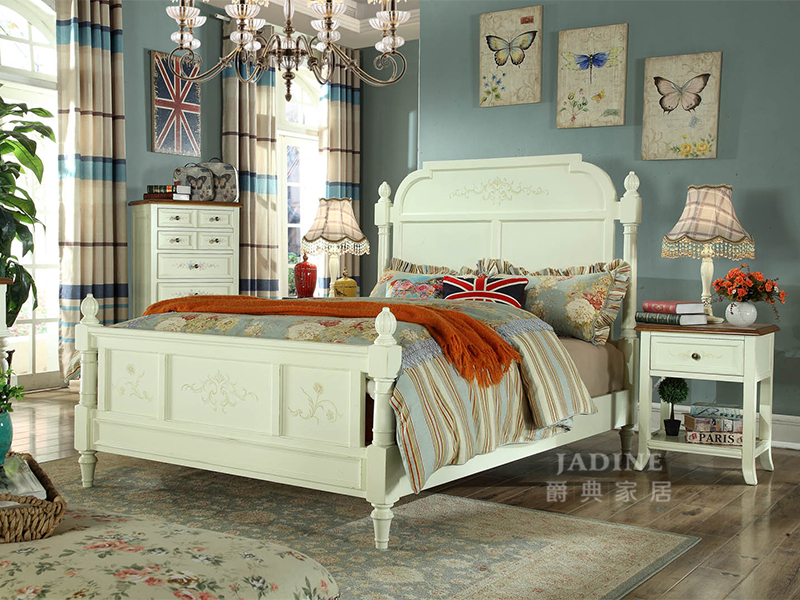 90空间家具·爵典家居 美式卧室白色实木双人床