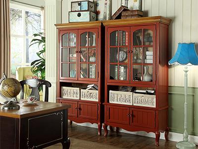 90空间家具·爵典家居 美式书房实木双门书柜