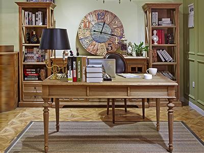 90空间家具·爵典家居美式书房实木书桌椅/书柜