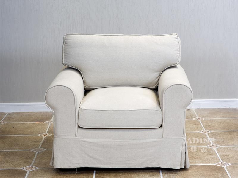 90空间家具·爵典家居 美式客厅布艺软体沙发(单人位)