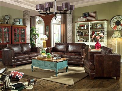 PULASKI家具·爵典家居 美式客厅双人位+三人位+单人位真皮沙发组合/茶几