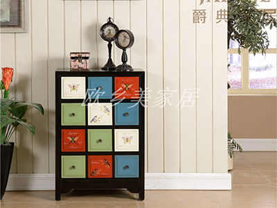 PULASKI家具·爵典家居 美式客厅复古玄关彩绘玄关柜