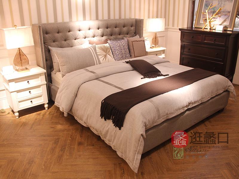 亚兰帝斯家具美式卧室鹅掌楸全实木布艺软包双人大床/床头柜/五斗柜MLK033