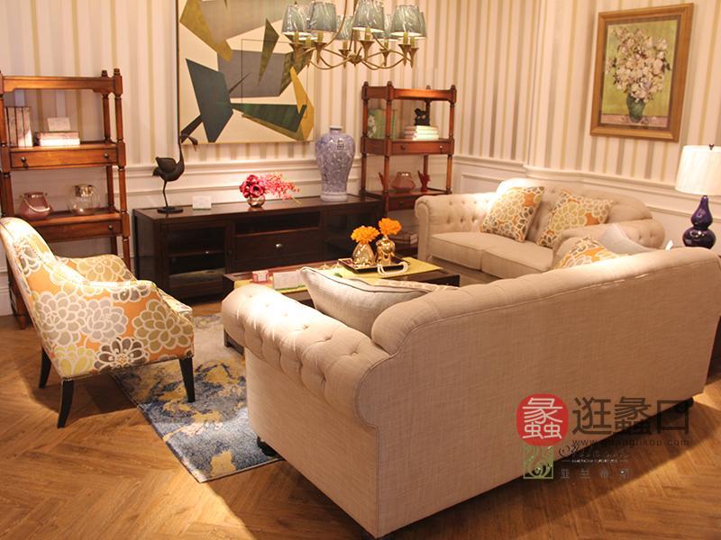 亚兰帝斯家具美式客厅鹅掌楸全实木水性漆浅色双人位/三人位沙发组合/单人位/茶几/电视柜MLK040