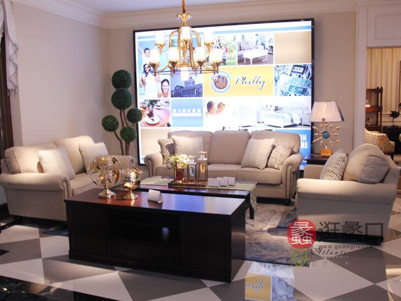 亚兰帝斯家具美式客厅鹅掌楸全实木水性漆浅色双人位/三人位/单人位沙发组合/茶几/电视柜MLK041