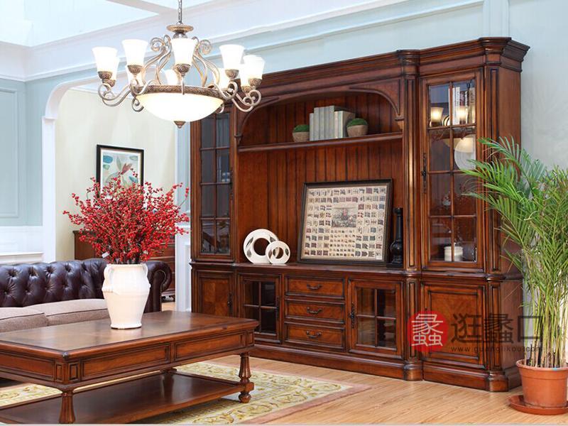 亚兰帝斯家具美式古典客厅鹅掌楸全实木水性漆K5266组合厅柜/电视柜