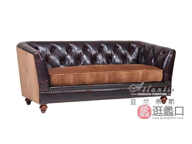 亚兰帝斯家具美式客厅鹅掌楸全实木水性漆K4726皮沙发
