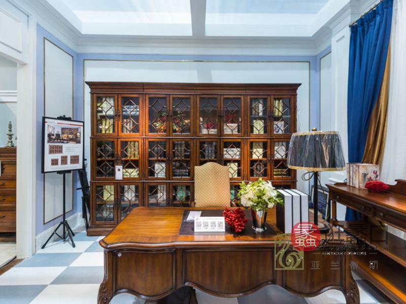 亚兰帝斯家具美式古典书房鹅掌楸实木S3249书柜/ S3606字台/书椅