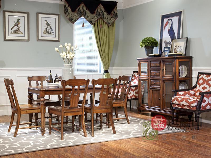 亚兰帝斯家具美式古典餐厅鹅掌楸实木 C911餐桌/餐边柜(装饰柜)