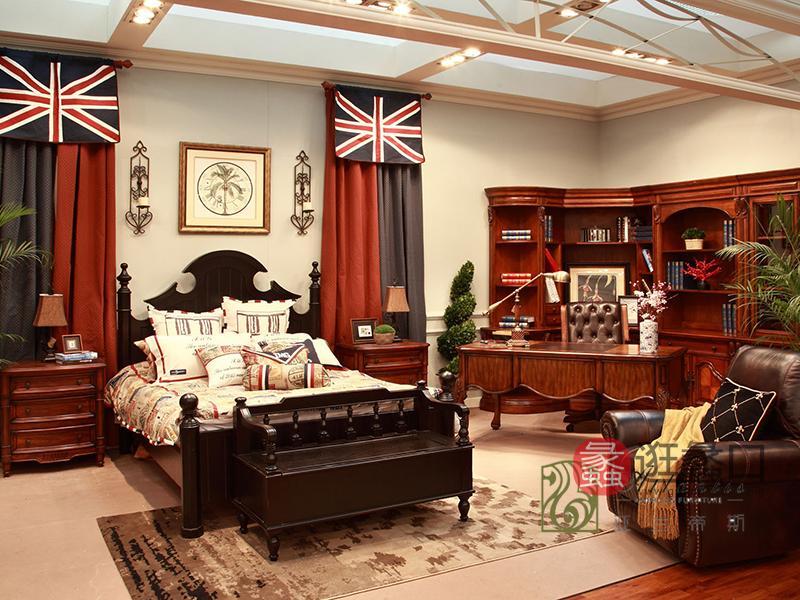 亚兰帝斯家具美式卧室鹅掌楸实木双人大床W613 客卧床(黑色)