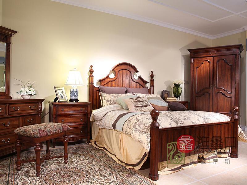 亚兰帝斯家具美式卧室全实木W613客卧床(亚兰色)、W607两门衣柜