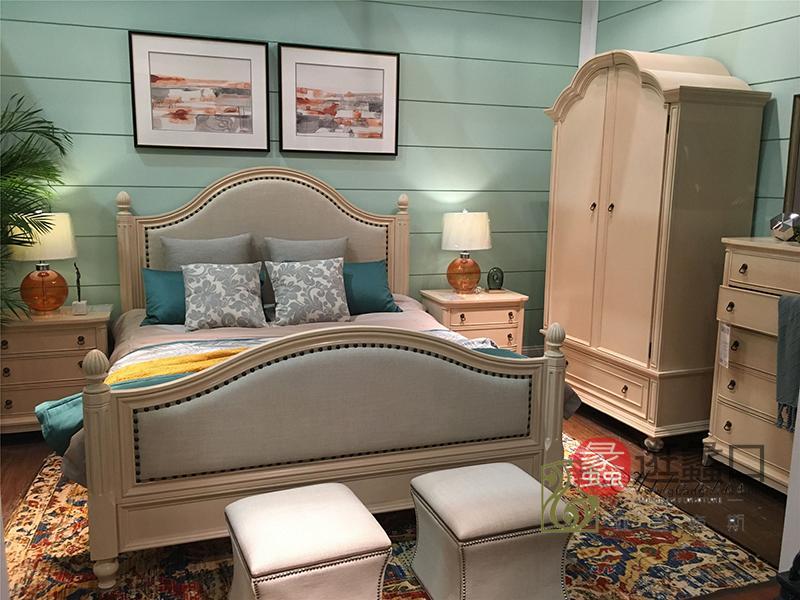 亚兰帝斯家具美式卧室实木W638白色床/W4202白色两门衣柜/W4226妆台