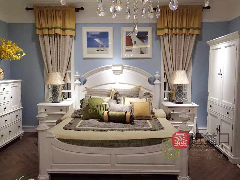 亚兰帝斯家具美式白色卧室鹅掌楸全实木双人皇后床W603 /床头柜/衣柜